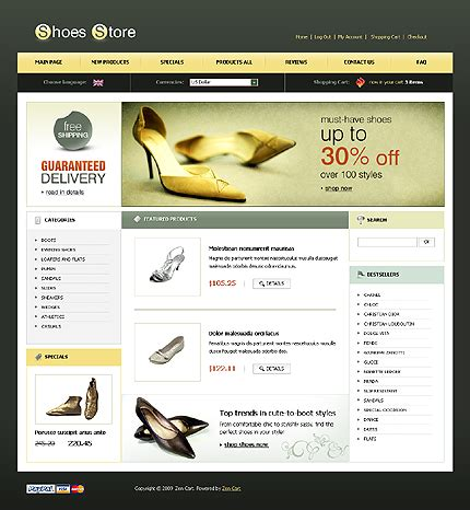 Shoe Websites by Templates For A Shoes Stores Websites Drawing Inspiration