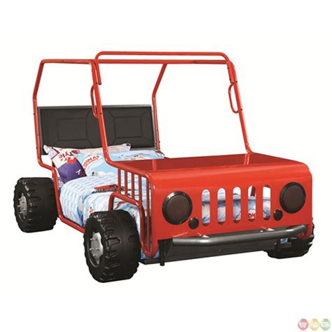 car twin bed frame red metal frame jeep car kids novelty twin bed