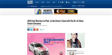 Doctoroz Com Giveaway - ford warriors in pink in the driver s seat with the dr oz show fusion giveaway