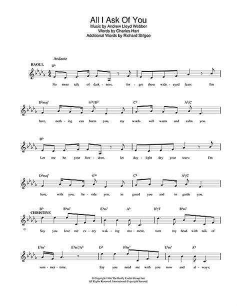 All I Ask Of You Guitar Chords