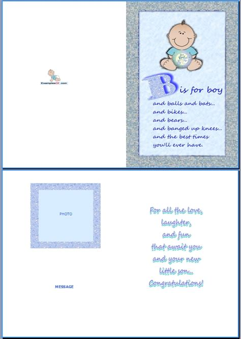 Template Baby Boy Card by Exle Of Baby Birth Card B Is For Boy