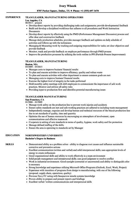 team leader manufacturing resume sles velvet