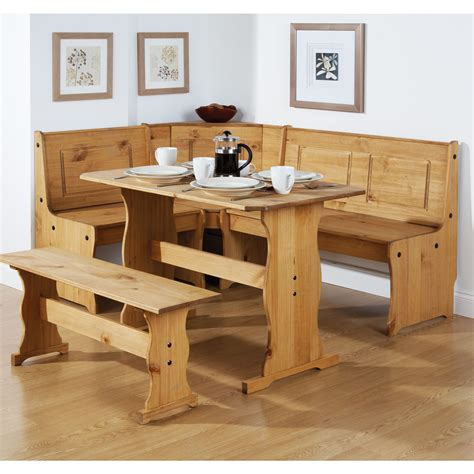 monterrey waxed pine 109cm dining table with corner bench