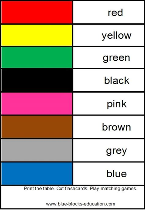 flash card maker colors colors matching games print and cut the flashcards match