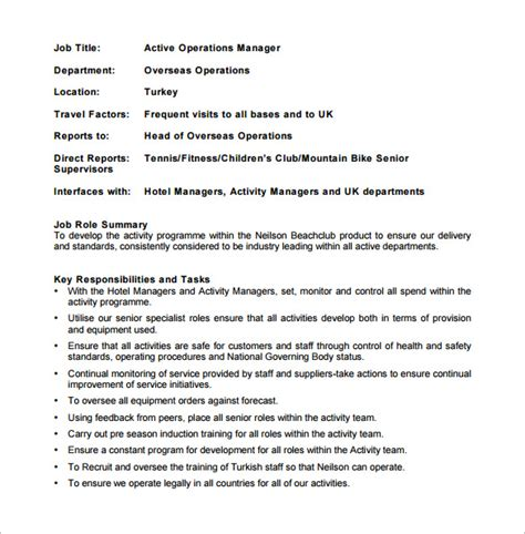 operations manager job description template 9 free word