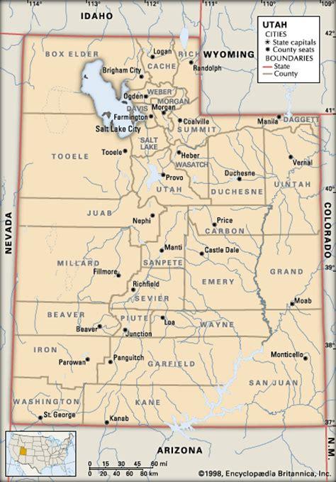 utah counties map utah counties encyclopedia children s homework help dictionary britannica