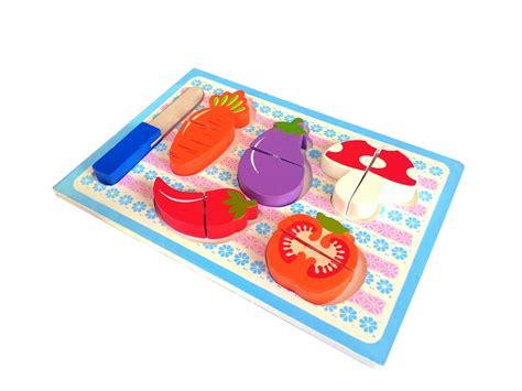 Mainan Kayu Roti Potong jual chunky puzzle sayur buah roti potong rainbow kana