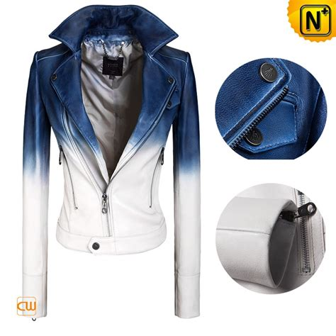 jacket design maker women designer blue and white slim leather jackets cwmalls