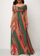 Shirred Front Printed Maxi Dress zipper back cold shoulder front slit maxi dress rosewe