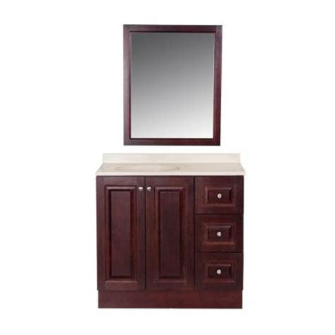 home depot vanity mirror bathroom glacier bay northwood 36 in vanity in dark cherry with