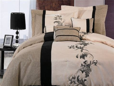 black and beige comforter set find cheap price chezmoi collection 7 pieces luxury beige
