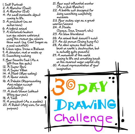 1 Drawing A Day Challenge by 30 Day Drawing Challenge By G Townsend On Deviantart
