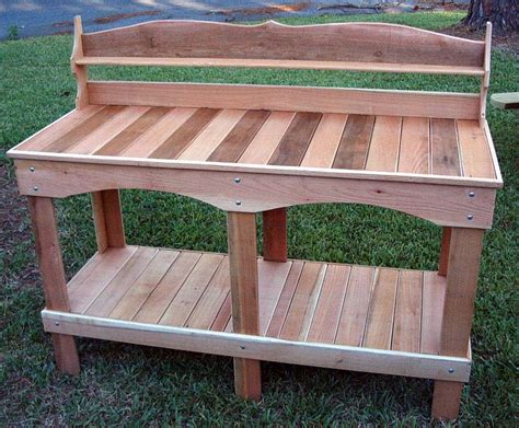 cedar bench plans cedar potting bench plans 187 woodworktips
