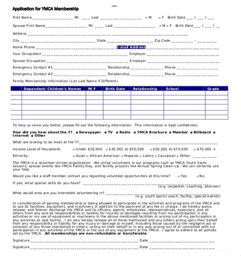 membership form template pdf membership application template 12 free word pdf