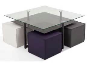 table basse carr 233 e avec plateau en verre 4 poufs bolero