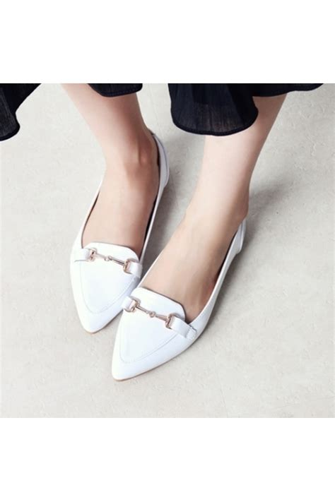 white pointed flat shoes womens white pendant pointed toe faux patent leather flats
