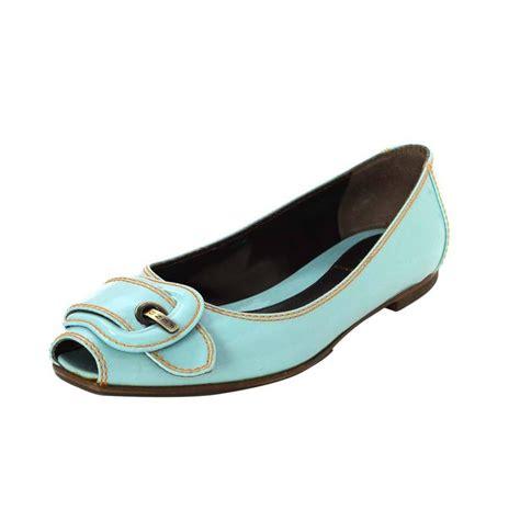 Fendi Patent Peep Toe by Fendi Light Blue Patent Peep Toe Flats Sz 37 5 For Sale At