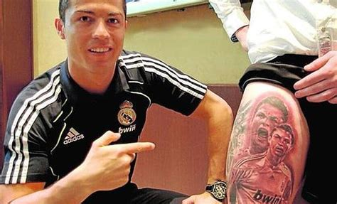 cristiano ronaldo tattoo cristiano ronaldo is on the thigh