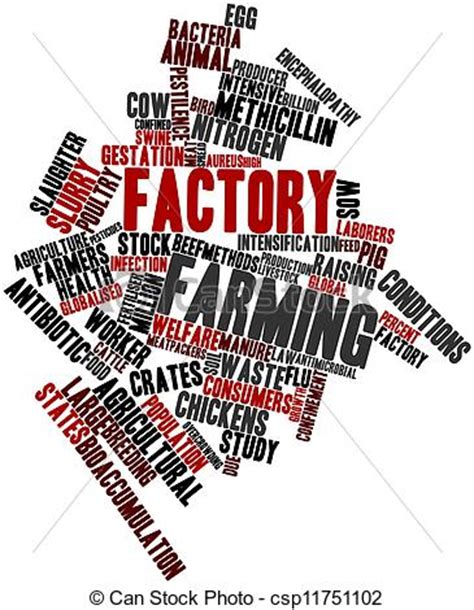 stock illustration of factory farming abstract word