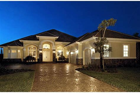 large one story homes mediterranean plan 3 089 square 3 4 bedrooms 3
