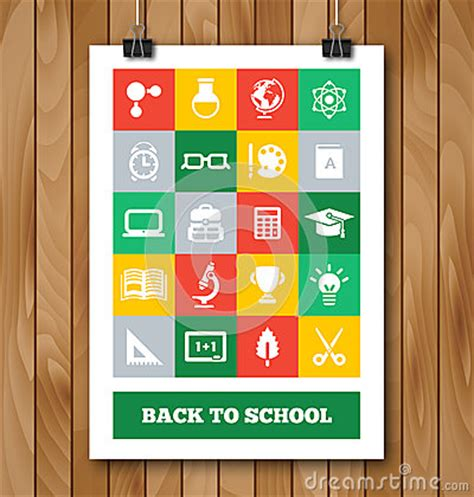 school supplies icon set back flat poster with education and school supplies