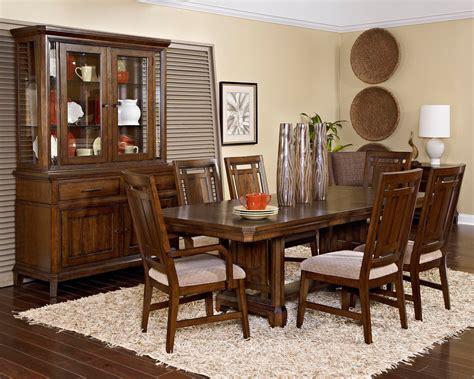 estes park artisan oak rectangular trestle dining room set