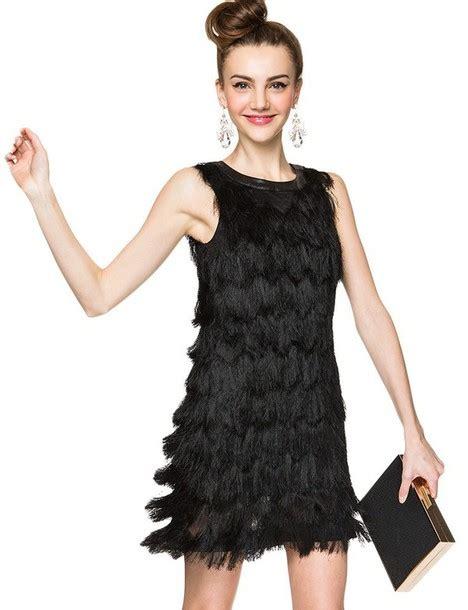 dress  black dress  black fringe dress