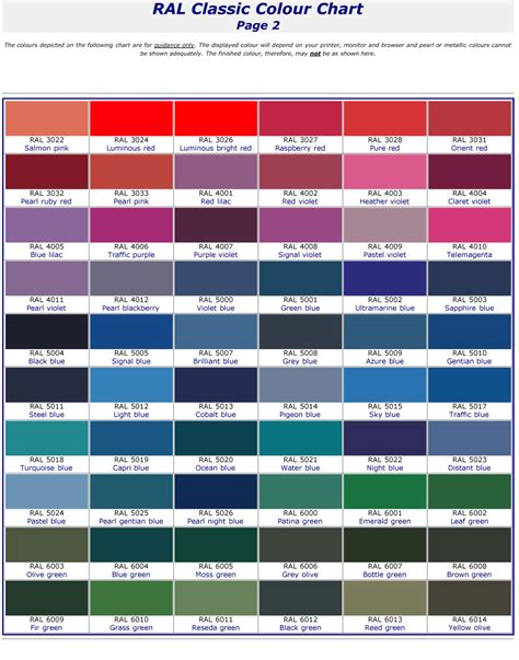 ral color chart pdf car interior design