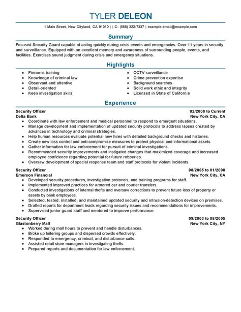 security officer resume exles sle resume for security officer sle resume
