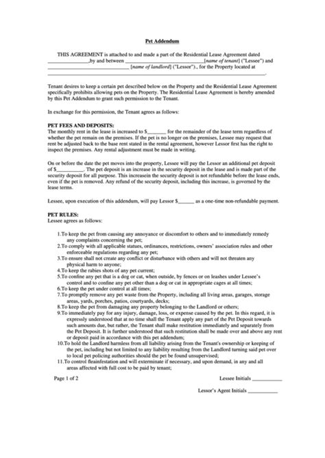 Pet Addendum Template For Residential Lease Agreement Printable Pdf Download Pet Addendum Template
