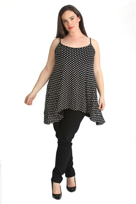 plus size swing tops womens plus size top ladies swing cami tank top polka dot
