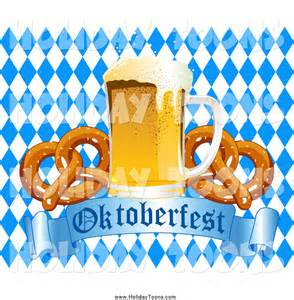 larger preview royalty free holiday of a beer and soft pretzels over an oktoberfest banner and