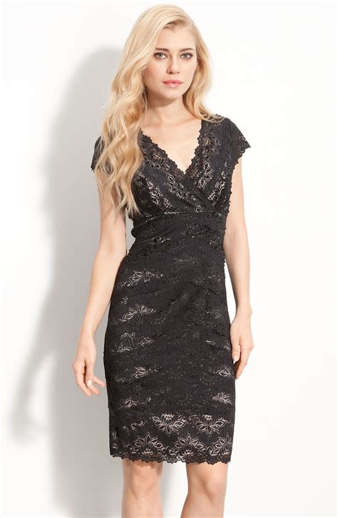 Layer Lace js collections layered lace sheath dress in black black lyst
