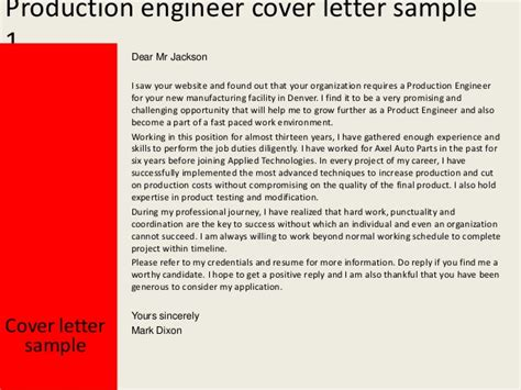 Cover Letter For Production Engineer production engineer cover letter