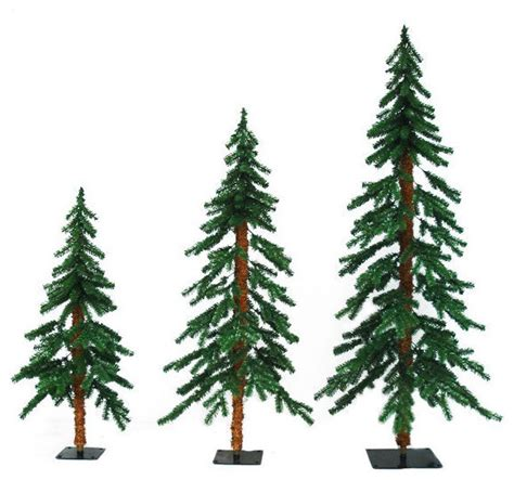 flocked alpine christmas tree set traditional