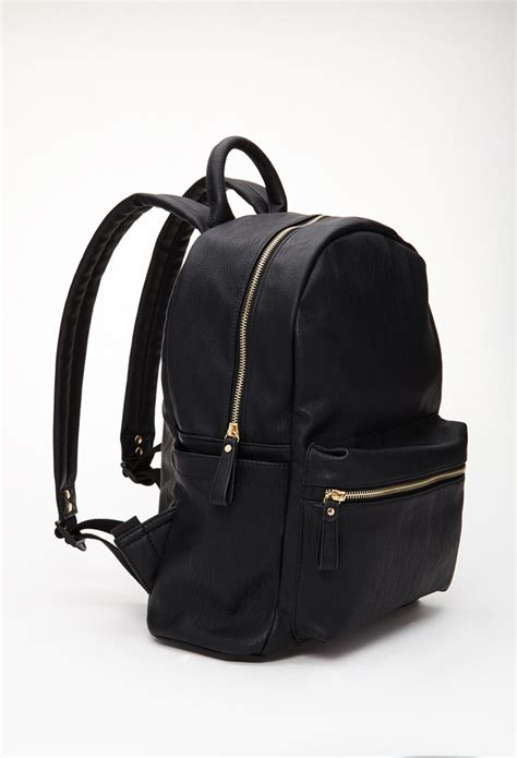 Faux Leather Backpack lyst forever 21 classic faux leather backpack in black