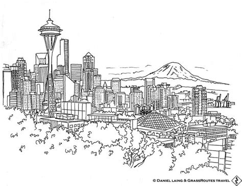 seattle skyline coloring pages