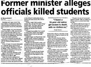 Former minister alleges officials killed students