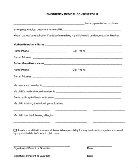 sle medical consent form 9 exles in pdf word