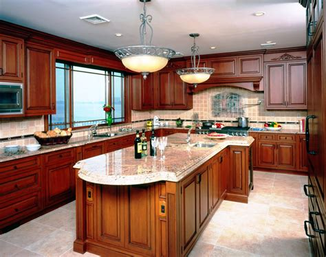 kitchen ideas with cherry cabinets light granite darker wood cabinets in kitchen comfortable