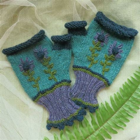 Handmade Mittens - fingerless gloves handmade mittens embroidered