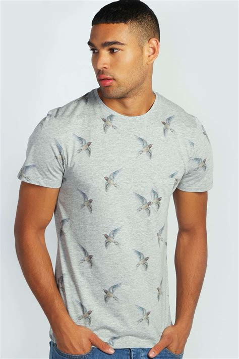 Crew Neck Printed T Shirt Mens by Boohoo Mens Sleeve Crew Neck Bird Print Top T Shirt
