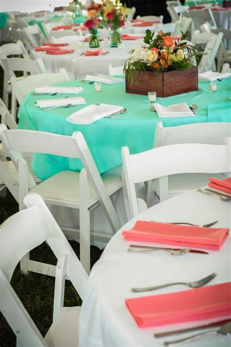 Coral & teal table decor   June 11, 2016   Wedding