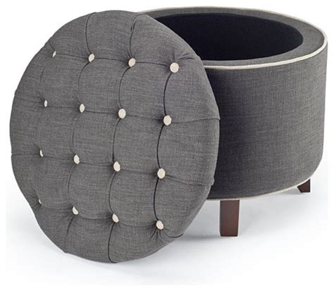 Reims Grey Storage Ottoman Modern Footstools And Overstock Ottoman Storage