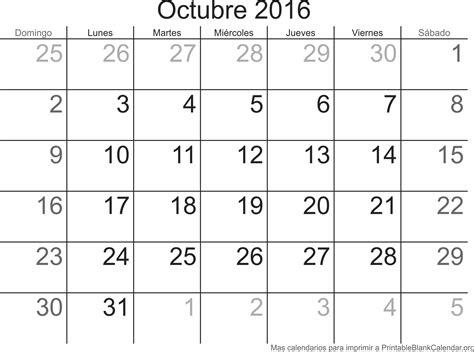 Calendario De Octubre Octubre 2016 Calendario Para Imprimir Calendarios Para