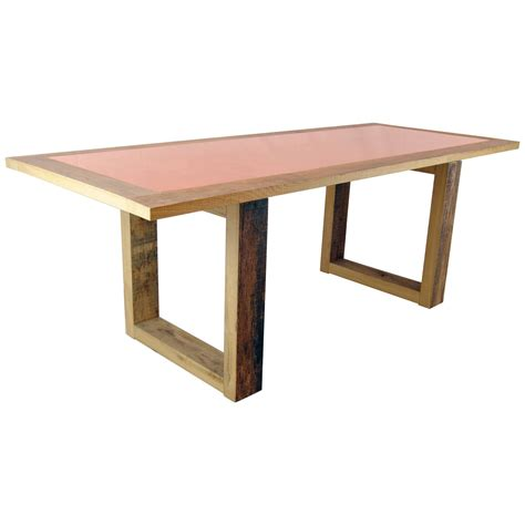 copper dining room table modern wood and copper dining table by michelangeli italy