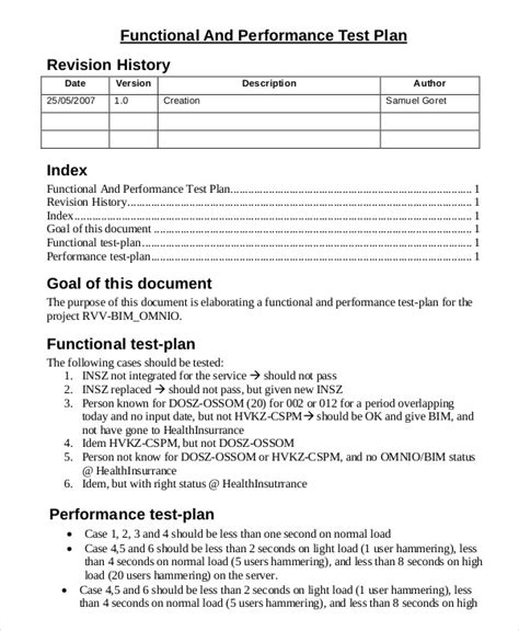 performance testing test plan template test plan template 11 free word pdf documents
