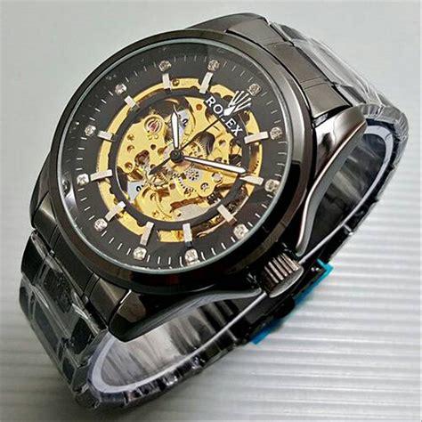 jual jam tangan pria cowok rolex skeleton bigsize
