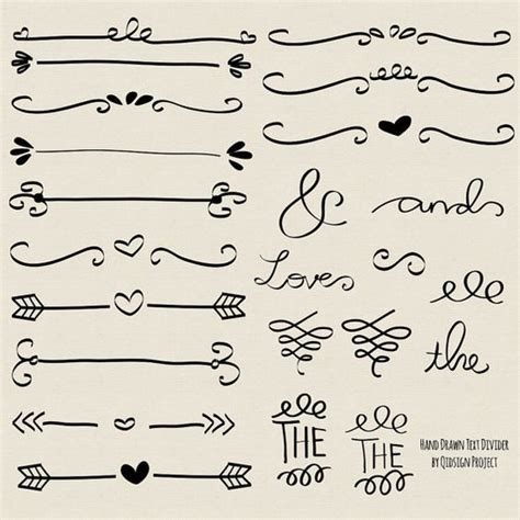 doodle free text option doodle text divider swirly clip for