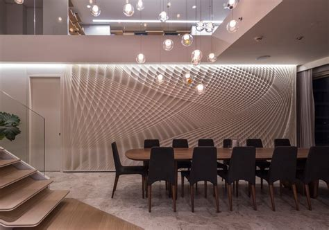 design detail a sculptural feature wall in the dining